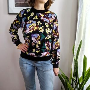 & Other Stories Floral Crew Neck Cotton Sweater